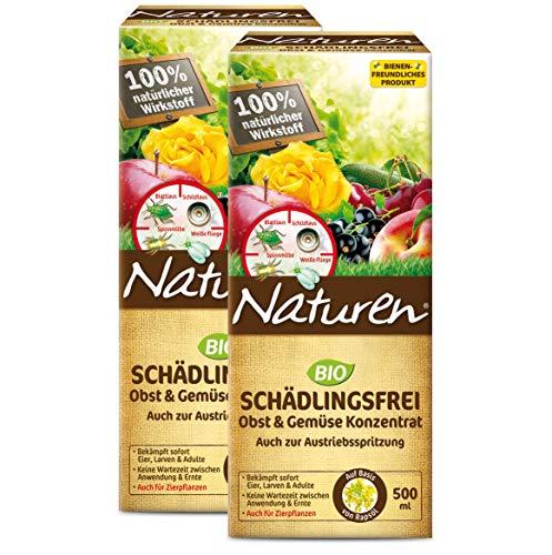 Naturen Bio Schädlingsfrei Obst- und Gemüse Konzentrat, Natürliches Mittel gegen Blattläuse, Spinnmilben, weiße Fliegen, Gallmilben und Schildlausarten sowie Schmierläuse und Wollläuse, 2 x 500 ml