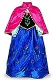 JerrisApparel Niña Princesa Anna Disfraz Fiesta de Cosplay Vestido (5 años, Azul)