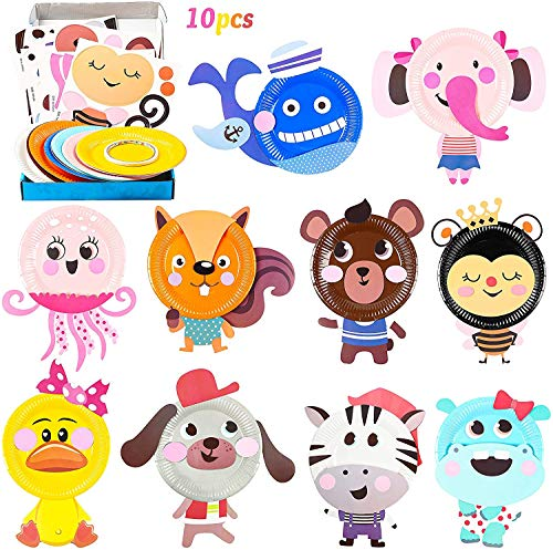 BeYumi 10Pcs Animal Paper Plate Art Kits for Kids DIY Craft Sticker Card Games Activity Handmade 3D Animals with Body Paper Crafts Project Classroom Supplies for Preschool Toddler Boys Girls