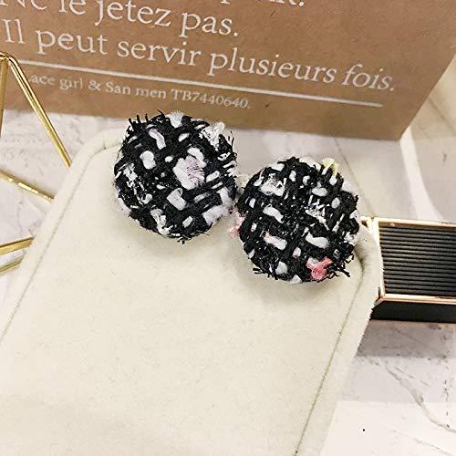 Chwewxi Zwarte kleine geur tweed temperament oorbellen eenvoudige Koreaanse wilde oorbellen oorbellen vrouwelijke nieuwe, zwart