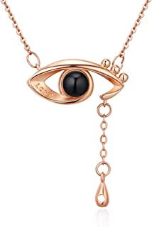 MOCAL Evil Eye Necklace Lettering Love Pendant Stainless Steel Necklace 100 Different Languages for I Love U