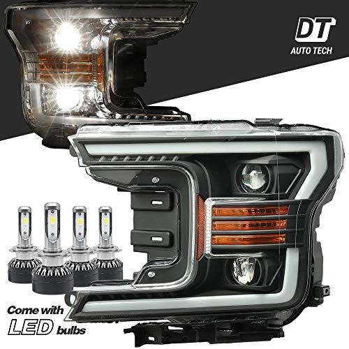 AlphaRex Projector LED High/Low Beams Headlights Headlamps Assembly Switchback DRL+Turn Signal For 2018-2020 F-150 F150 (matte black projector with LED light bulbs)