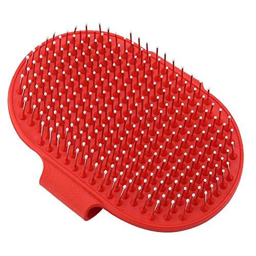 NINIWA Cepillo de champú para mascotas con cerdas de goma para masaje y curry peine práctico para perros y gatos lavado rojo 1 unidad