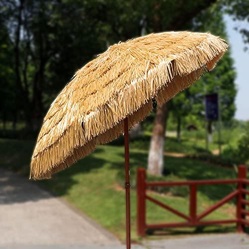 SAMUR Ombrelloni da Esterno in Paglia, Ombrellone da Giardino con Base, per Patio Giardino Spiaggia Piscina (Regolabile A 180°)