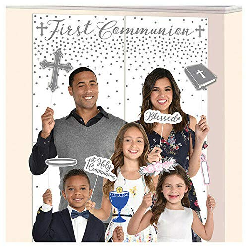 Affordable Amscan 671008 First Communion, Gray Scene Setters w/Props, 15 Ct. 32. 5 x 65