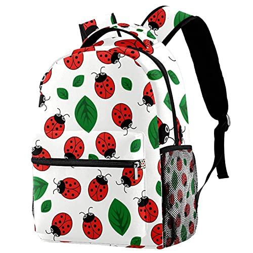 Mochila para niñas y niños, bolsa de escuela, bolsa de libros para mujeres, casual, con correas ajustables para el hombro, volcán de cerezo japonés, Ladybug on Leaf 8 (Multicolor) - w04