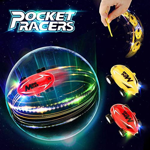 Growsland Car Toys for Boys Gifts 2 Pack Mini Cars High Speed Micro Racer Pocket Racer Spin Toys Rechargeable Stunt Novelty Stress Relief Toys with LED Light for Kids Girls Adults