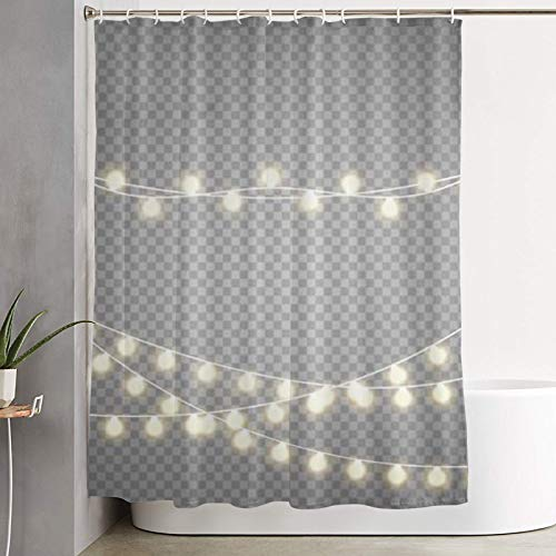 Janrely Shower Curtain,Christmas Lights Isolated on Transparent Background Set of Golden Xmas Glowing Garland vect,Bathroom Curtain Washable Curtain Polyester Fabric with 12 Plastic Hooks 180x180cm