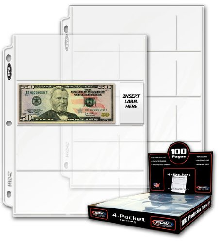 10 Boxes of 100 BCW PRO4C 4 Pocket Currency Pages – 3 Ring Binder Sheets