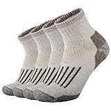 ONKE Men's Merino Wool Moisture Wicking Control Outdoor Ankle Running Hiking Cushion Low Cut Socks 4 Pack(Brown L)