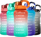 SANKUU 64oz/Half Gallon Motivational Water Bottle with Straw&Time Maker,Leakproof &BPA Free Water Bottle Perfect for Fitness,Gym,Sports (orange/blue gradient)