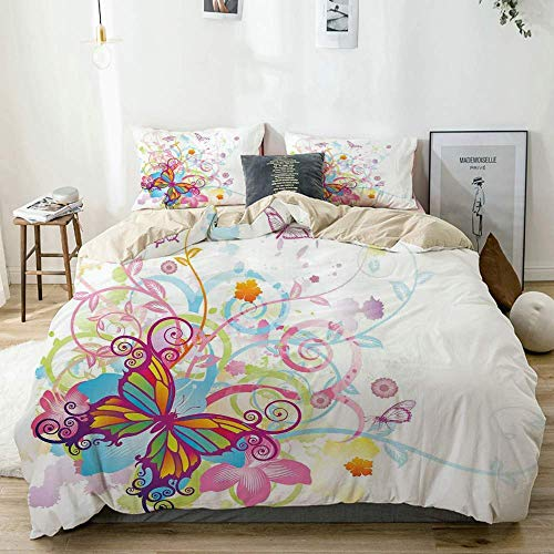 Zozun Duvet Cover Set Beige,Butterfly with Floral Elements and Leaves Stylized Curvy Branches Ornament, Decorative 3 Piece Bedding Set with 2 Pillow Shams