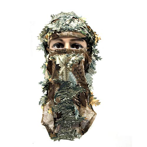 DETECH 3D Camouflage Thin Breathable Hoods Leaf Stereo Camouflage Hunting Mask Hat Balaclava Woodland Full Face Mask