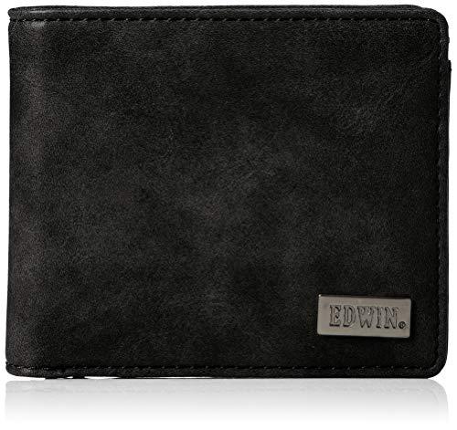 [エドウィン] 二つ折財布 ダークメタルプレート ブラック