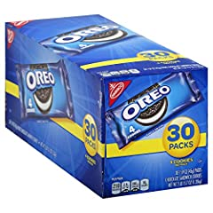 Thirty 1.59 oz packs of OREO Chocolate Sandwich Cookies 4 chocolate cookies per snack pack Chocolate wafers filled with OREO creme Cookie snacks are perfectly dunkable Snack cookies are a convenient travel size and perfect for on the go and lunches