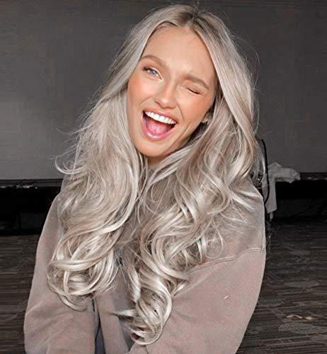 VEBONNY Glueless 613 Perücken für Frauen Ombre Brown Platinum Blonde Lace Front Perücke mit braunen Wurzeln Mittelteil Synthetisches Haar Wellenförmige Perücke 22 Zoll VEBONNY-048-NEW