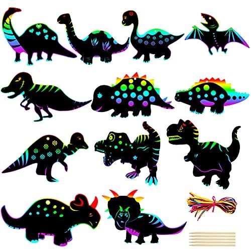 LOVEXIU Scratch Art para Niños Dinosaurio 36 Piezas,Papel para Rascar, Painting Papel Animales Manualidades Y Regalos para Niños, Dinosaurios Decoraciones para Fiestas, Regalo De Cumpleaños