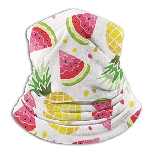 LENGDANU Watermelon Pinesummer Print Comida y bebida Frutas Unisex Invierno Fleece Neck Warmer Polainas Hairband tubo frío Cara térmica cuello bufanda al aire libre protección UV fiesta cubierta