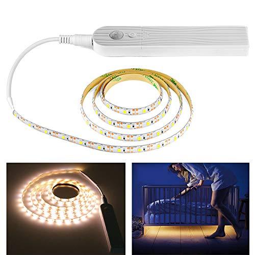 SQUAREDO Luces de Tira de LED Sensor de Movimiento Flexible Luz de Armario para gabinete/Cupord/Escaleras Size Body Sensor and Powered by Battery (Warm Light 3M)
