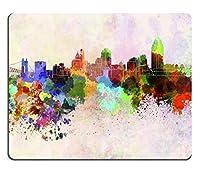 マウスパッド天然ゴムマウスパッドイメージID:25803277水彩背景でシンシナティのスカイライン