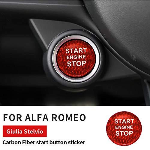 ontto Fibra di Carbonio Auto Start Stop Engine Pulsante Adesivo per Alfa Romeo Giulia Stelvio Interruttore di Accensione Pulsante Decorazione Copertura Adesivo Trim Decorazione-Rosso