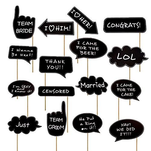 Photo Booth Props Funny for Wedding Bridal Shower Graduation Engagement Valentines Party Marry Decoration Party with Wooden Stick 16pcs