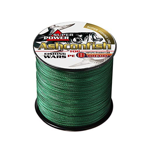Ashconfish Super Stark Geflochtene Angelschnur PE Angeln Draht Multifil Angeln String 100 M/109yards Angeln Gewinde - Abriebfest Incredible Superline Zero Stretch klein Durchmesser dunkel - Moos Grün