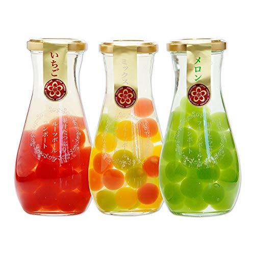 ふみこ農園 果汁たっぷり フルーツゼリーボールコンポート3本セット(いちご、ミックス、メロン)内祝 プチギフト 子供〈10591〉(通常)