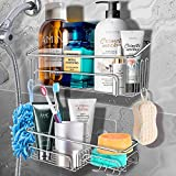 JOMARTO 2-pack Shower Caddy Basket Shelf SUS304 Stainless Steel Bathroom Shelf with 11 Hooks ,Bearing 30...