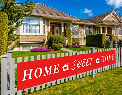 Colormoon Large Home Sweet Home Banner | Welcome Home Banner | Housewarming, Decorations | Family Party Supplies Home Decor | Red, White Outdoor Indoor (9.8 x 1.5 feet)