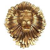 HXPBJ - Abalorio de Pared de Metal con Cabeza de león sintético, decoración de Pared para el hogar, la Granja, el Dormitorio, la Oficina, 27.5x56.5x23cm