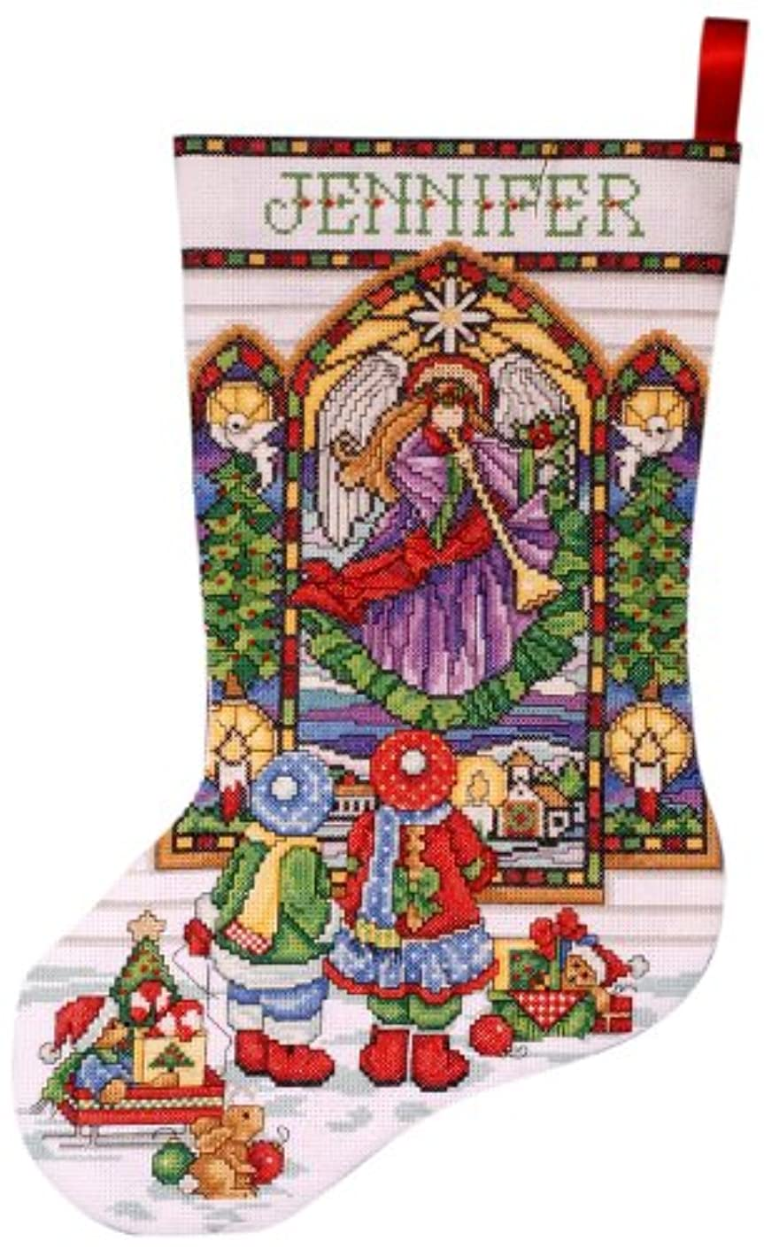 Tobin DW5961 14 Count Stained Glass Stocking Counted Cross Stitch Kit, 17-Inch Long