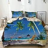 Juego de funda nórdica beige, tumbona bajo palmeras junto al mar tropical en la isla de Boracay, juego de cama decorativo de 3 piezas con 2 fundas de almohada, fácil cuidado, antialérgico, suave y lis