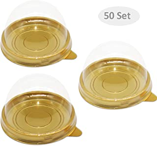 50 Set Clear Plastic Mini Cupcake Boxes Muffin Pod Dome Muffin Single Container Box Wedding Birthday Gifts Boxes Supplies (Gold)