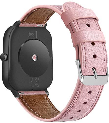 Gransho Schnellverschluß Uhrenarmbänder kompatibel mit Amazfit GTS/GTS 2 / GTS 2 Mini - Leder Armbänder für Herren und Damen im eleganten Stil (20mm, Pattern 4)