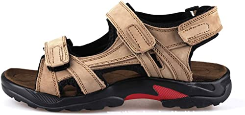 Chaussures Chaussures de Plage d'été pour Hommes en Cuir décontracté Sandales Chaussures pour Hommes Pantoufles-Khaki-43