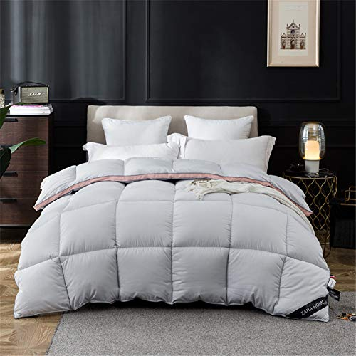 LIPING-OM Goose Down Duvet and 100% Cotton Down Fabric,(4.5 Tog/9 Tog) Luxurious Duvet, Anti-allergic, No Odor (200 * 230cm(4kg),gray)