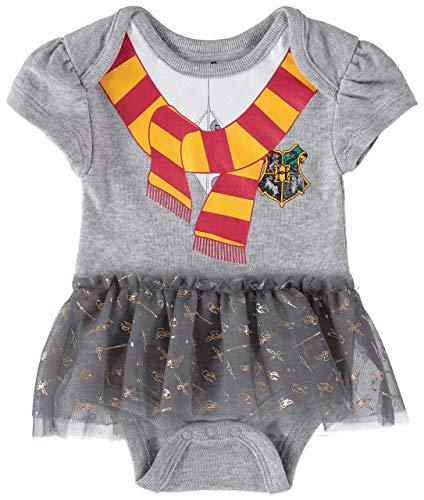 Harry Potter Baby Girl's Creeper Tutu Short Sleeve Onesies Baby Bodysuit Costume (Grey/White/Orange, 3-6 Months)