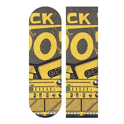 Skateboard Griptape Blatt 83 x 22,9 cm – Disk Radio Retro Sandpapier für Rollerboard Longboard Griptape blasenfreies Skateboard Tape