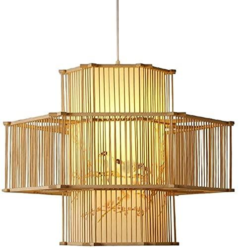 Forma geométrica tejida a mano araña decorativa estilo chino creativo bambú y ratán lámpara colgante flor y pájaro patrón de pájaro imitación piel de oveja lampana adecuada para el pasillo de la sala