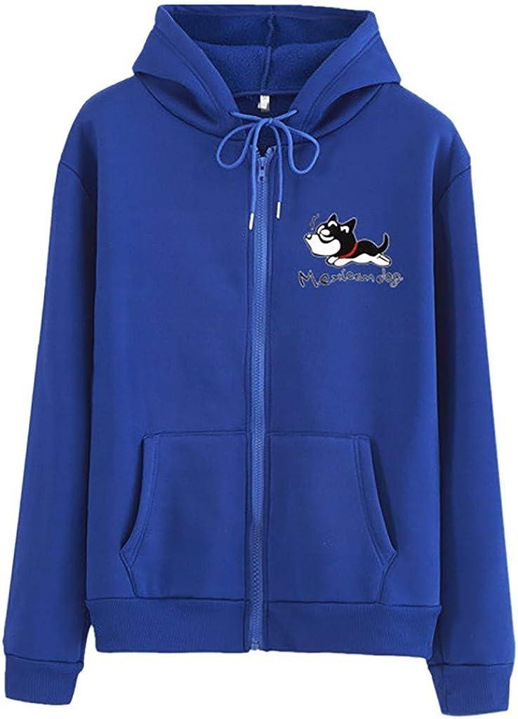 Girls' Hoodie, Misaky Autumn Winter Mexjcam Dog Print Zipper Pocket Long Sleeve Hooded Pullover Sweatshirt