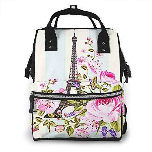 Baby Wickelrucksack Eiffelturm Schablone, Multifunktional Wickeltasche Reise Rucksack Große Kapazität Babytasche Mit Wickelunterlage, Passform für Kinderwage