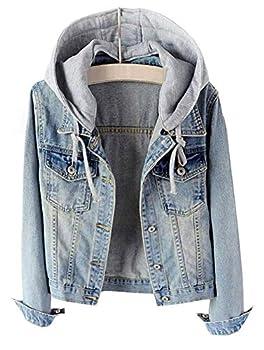 LifeShe Women s Casual Detachable Hoodie Denim Jacket  Light Blue L