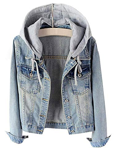 LifeShe Women's Casual Detachable Hoodie Denim Jacket (Light Blue, M)