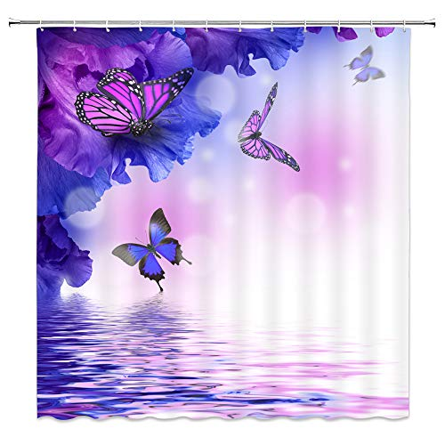 Butterfly Shower Curtain Purple Insect Animal Flower Wings Dream Fantasy Water White Bathroom Curtains Decor Polyester Fabric Waterproof Include Hooks,(70' WX70 H)