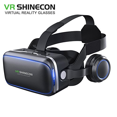 Original VR SHINECON 6.0 VR headset version virtual reality glasses Stereo headphones 3D glasses headset helmets Support 4.7-6.0 inch large screen smartphone Authentic authorization (G04E-stand-alone)