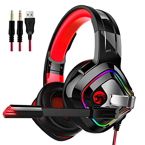 Gaming Headset, Mit Mikrofon-Headset Für 3,5Mm Stereo-LED-Beleuchtung, Für PS4, Xbox One, Nintendo Switch / 3DS / PSP, PC Gaming Headset