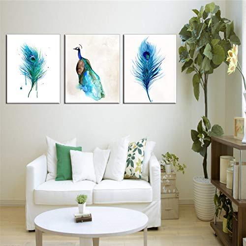 QWERGLL 3 Panel Wandkunst Malerei Hd Gedruckt Poster Dekoration Pfau Für Wohnzimmer Modulare Leinwand Bilder