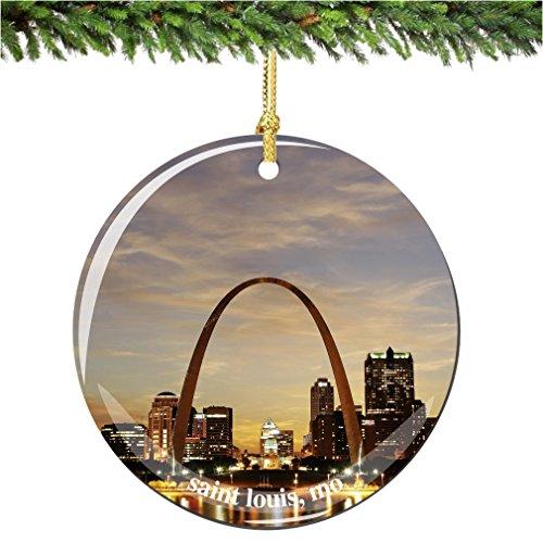 City-Souvenirs Saint Louis Christmas Ornament, Porcelain 2.75' Double Sided Christmas Ornaments