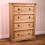 Vida Designs Corona Chest Of Drawers, 4 Drawer, Solid <span class='highlight'>Pine</span> Wood